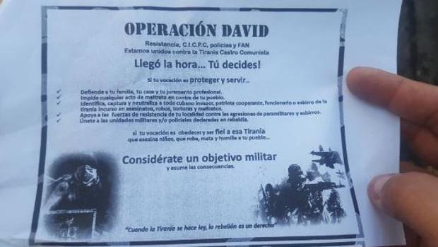 Imagen de una octavilla en la que se llama a la oposición contra Maduro