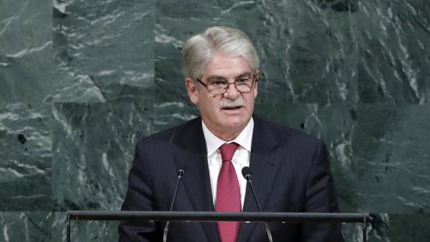 El ministro español de Asuntos Exteriores, Alfonso Dastis , habla la Asamblea General de Naciones Unidas