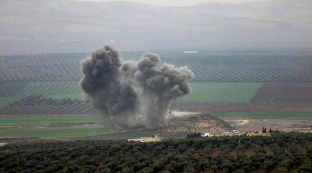 Bombardeo turco sobre la localidad de Deir Ballut, en la región de Afrín, este sábado