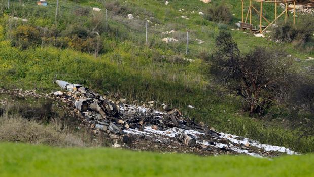 Los restos del avión estrellado en el valle de Jezreel, al este de Haifa