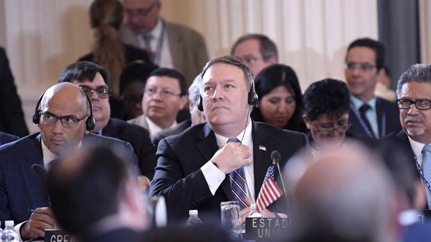 El secretario de Estado estadounidense, Mike Pompeo, en la Asamblea General de la OEA