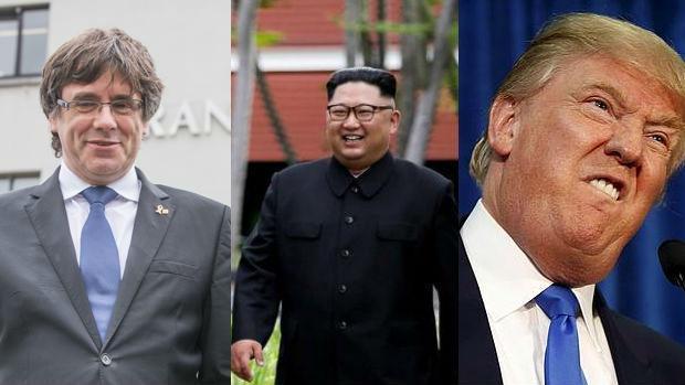 De izquierda a derecha: Carles Puigdemont, Kim Jong-un y Donald Trump