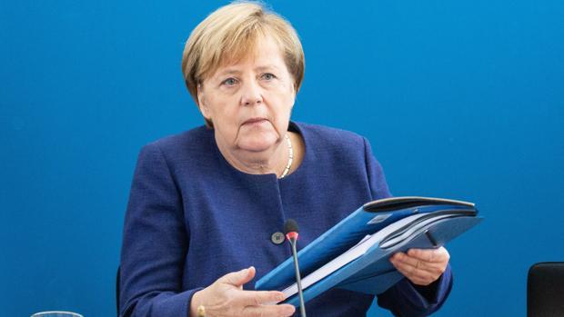 Angela Merkel, al comienzo de la reunión de la CDU en su sede en Berlín