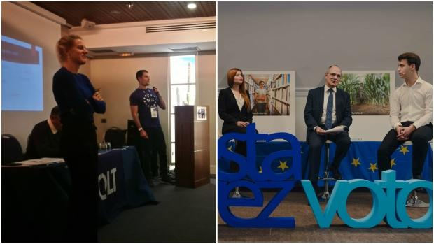 A la izquierda, imagen del congreso fundacional en España del partido paneuropeo Volt ; a la derecha, presentación de la iniciativa #estavezvoto impulsada por el Parlamento Europeo