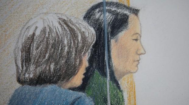 Dibujo de Meng Wanzhou durante su comparecencia en la Corte Suprema de Canadá el pasado 7 de diciembre