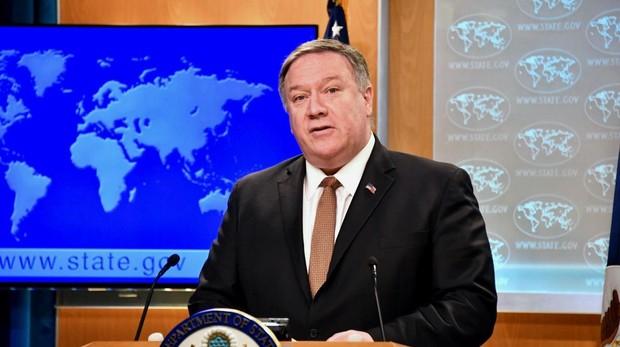 El secretario de Estado de EE.UU., Mike Pompeo, durante la rueda de prensa