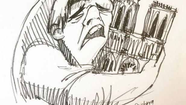 Quasimodo, llorando, abraza la catedral de Notre Dame