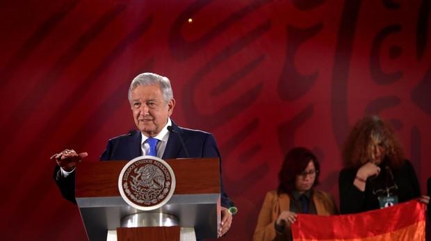 El presidente López Obrador, este viernes durante su rueda de prensa diaria en el Palacio Nacional