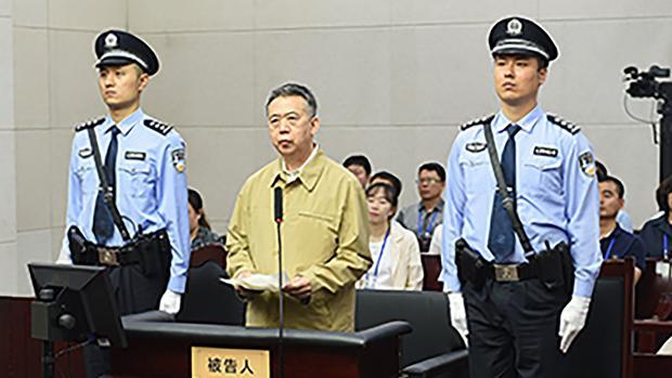 El expresidente de Interpol, Meng Hongwei durante su juicio