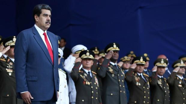 Nicolás Maduro durante una ceremonia militar en Caracas