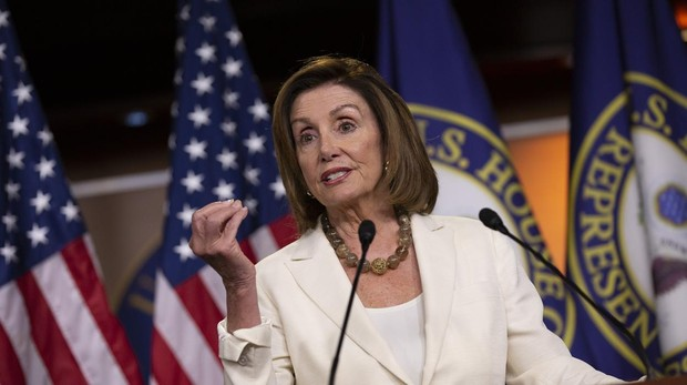 Nancy Pelosi, durante una rueda de prensa en el Capitolio