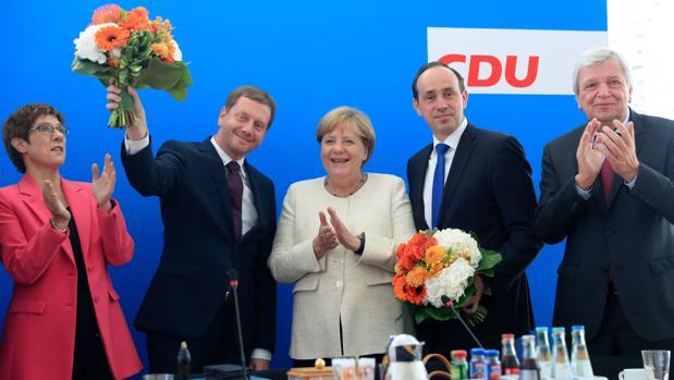 Reunión de celebración de los líderes de la CDU en Berlín tras conocer los resultados