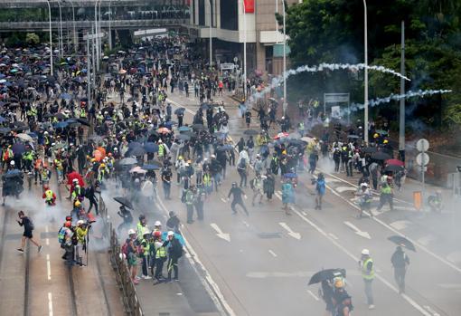 Manifestantes en el distrito de Wan Chai