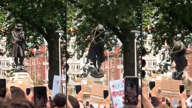 Manifestantes contra el racismo derriban la estatua de un esclavista en Bristol (Reino Unido)
