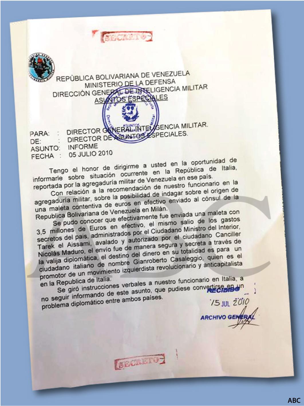 Documento secreto en el que se reconoce el envío de 3,5 millones a Milán