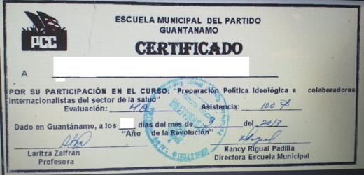 Ejemplo de diploma ideológico que reciben los profesionales tras realizar un cursillo antes de partir a una misión internacional