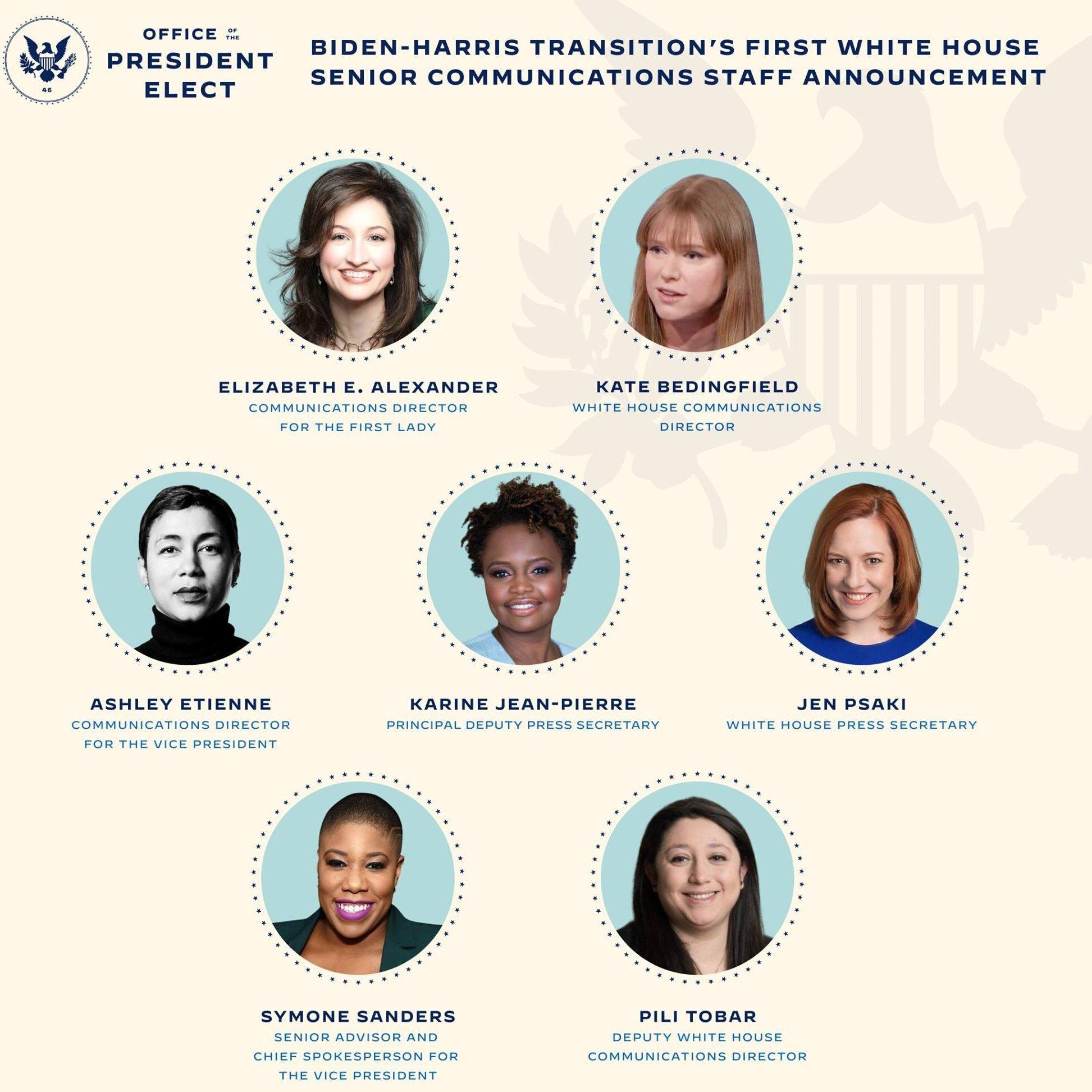 Biden pone solo mujeres al frente de Economía y Comunicación