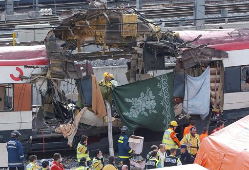 Explosion of one of the trains in the Madrid attacks on March 11