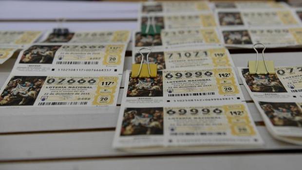 Detalle de décimos de lotería de Navidad