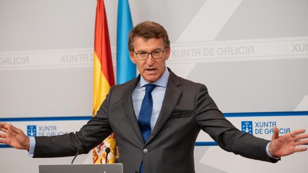 Alberto Núñez Feijóo durante una rueda de prensa