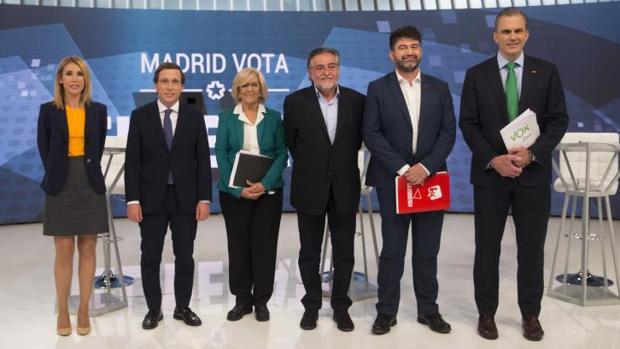 Los candidatos de C's, PP, Más Madrid, PSOE, Madrid en Pie y Vox en el debate por la alcaldía de Madrid