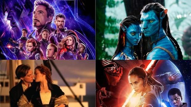 Cintas más taquilleras de la histioria: «Los Vengadores: Endgame», «Avatar», «Titanic» y «Star Wars: El despertar de la fuerza»