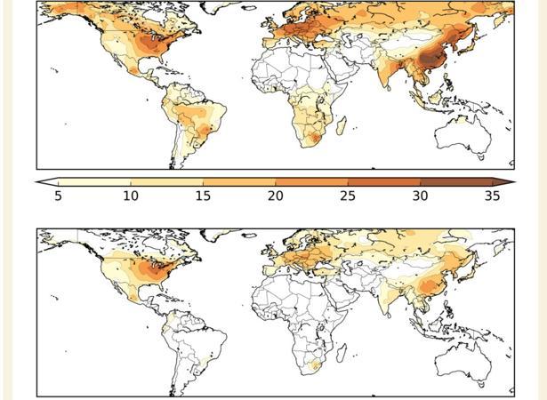 Mapa de calor que muestra el porcentaje estimado de muertes por COVID-19 atribuidas a la contaminación del aire de fuentes artificiales (arriba) y solo al uso de combustibles fósiles (abajo)