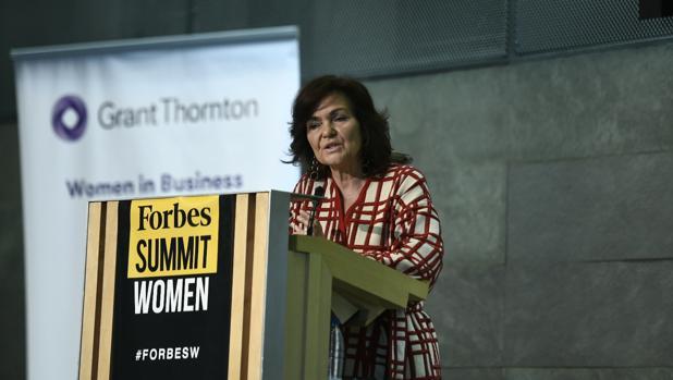 Carmen Calvo, durante su intervención en el Forbes Summit Women