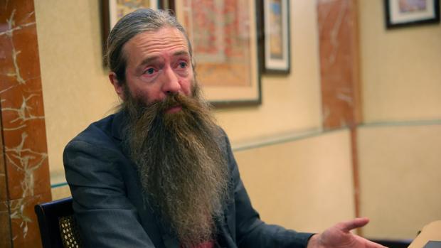 Aubrey de Grey , durante su visita a Madrid