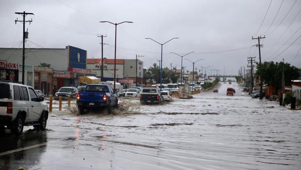 Vista general el pasado viernes de las inundaciones por el paso de la última tormenta tropical en la zona, Ivo, en la ciudad de Los Cabos, en el estado de Baja California (México)