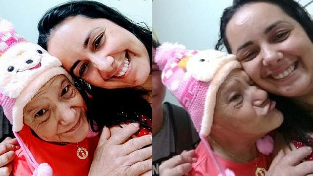 Doña María junto a su enfermera, Verónica Grossi