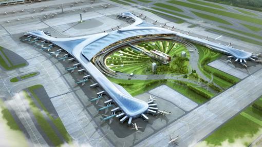 Vista aérea de la terminal 2 del Aeropuerto de Incheon en Corea del Sur