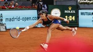 Garbiñe Muguruza durante un partido en el Mutua Madrid Open 2018
