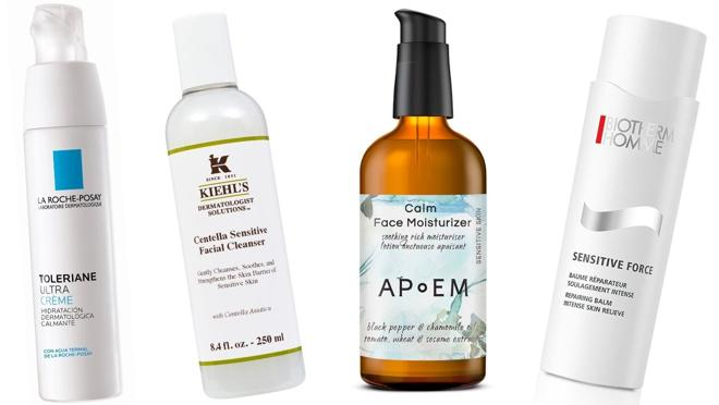 From left  Right: Belief's Aqua Bomb Cica Cream-Stress Shooter skin problem solver (€ 35, only at Sephora).  Kiehl's Centella Sensitive facial cleanser (€ 30).  APoEM Calm Face Moisturizer Nourishing Cream (€ 45).  Biotherm Homme Sensitive Force Repairing Balm for sensitive skin (€ 31.20)