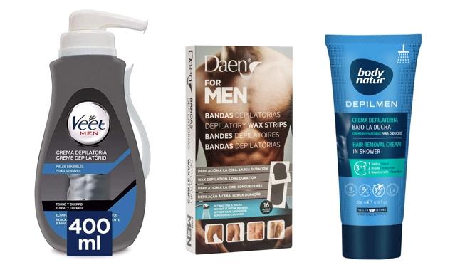 De izquierda a derecha: Crema depilatoria con dosificador para pieles sensibles de Veet Men (8,90 €), Bandas Depilatorias para hombre For Men de Daen (3,20 €, 16 bandas), y Depilmen Crema Depilatoria bajo la ducha de Body Natur (3,99 €).