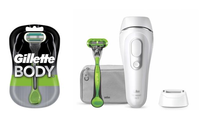 De izquierda a derecha: Gillette Body Maquinilla de afeitar corporal desechable (9,70 €) y Depiladora de luz pulsada para hombre Silk Expert Pro 5 de Braun (479 €).