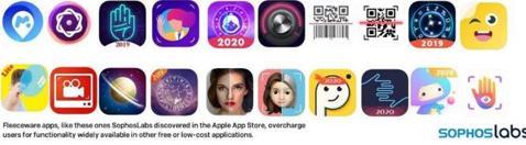 Algunas «apps» desplumadoras descubiertas por Sophos en la App Store