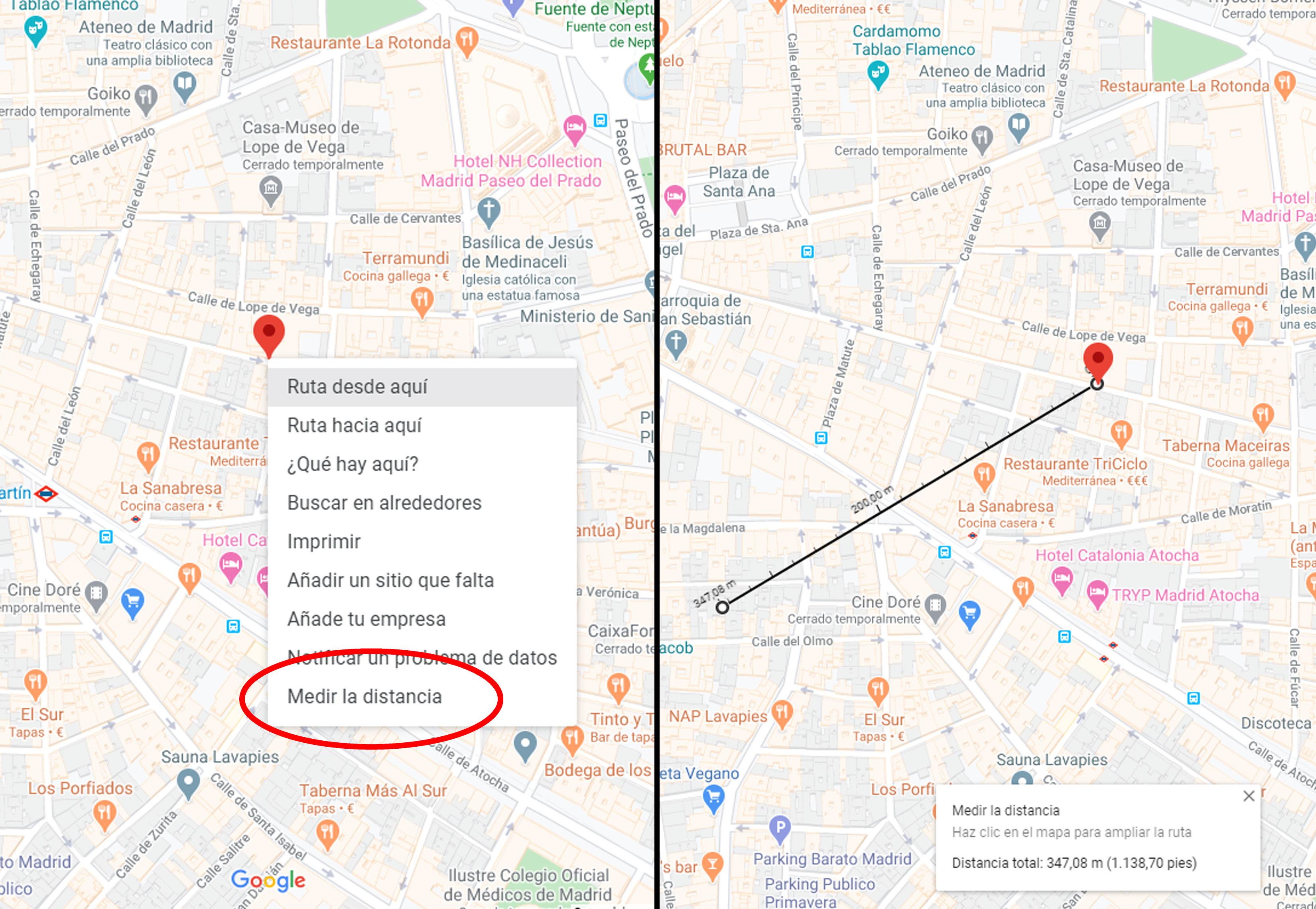 Cómo medir distancias con Google Maps en ordenador