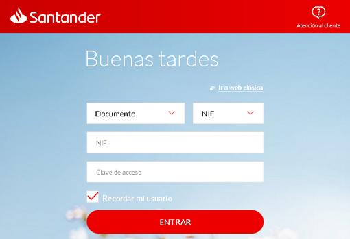 Página web perteneciente a una campaña de «phishing» en la que los cibercriminales se hacían pasar por el Banco Santander