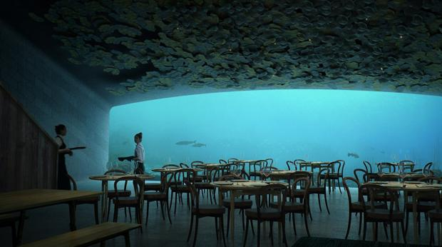 Sala del restaurante «Under», diseñado por el estudio de arquitectura Snohetta